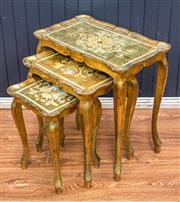 Sale 8287A - Lot 28 - Early Florentine gilt nest of 3 tables, good condition for age, some minor losses to gilding in parts, lots of character.Dimensions...
