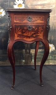Sale 8319 - Lot 8 - French centre stand, with intricate marquetry inlay to all 4 sides of serpentine and bombe form with marble top, real and false draw...