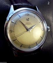 Sale 8312A - Lot 2 - A vintage men's Omega stainless steel wristwatch, bumper automatic circa