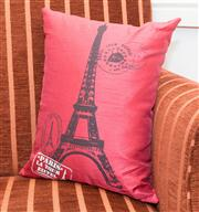 Sale 8308A - Lot 30A - A red pillow with a depiction of the Eiffel Tower