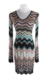 Sale 8493A - Lot 75 - A Missoni classic striped V neck long sleeve dress, size S