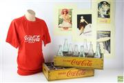 Sale 8546 - Lot 62 - Coca Cola Memorabilia Incl Posters, T-Shirt, Vintage Trays & Bottles