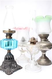 Sale 8706 - Lot 13 - 4 Kerosene Lamps with Shades