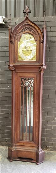 Sale 8976 - Lot 1001 - Good Early 20th Century Gothic Revival Oak Carillon Longcase Clock, retailed by Prouds  -signed to dial & waist door, with three tra...