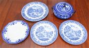Sale 9058H - Lot 32 - A small amount of blue and white transfer print ceramic comprising a Royal Doulton tureen in the Willow pattern and sundry dinner pl...