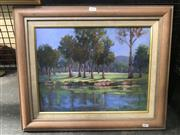 Sale 9050 - Lot 2042 - E Byron Riverbank Reflections oil on canvas laid on board 49 x 59cm(frame) signed