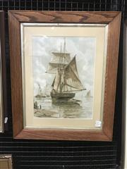 Sale 9072 - Lot 2009 - A Wilde Parsons Maritime Scene hand-coloured lithograph, 56 x 46cm (frame), published by Raphael Tuck & Sons Prize Exhibition 1890
