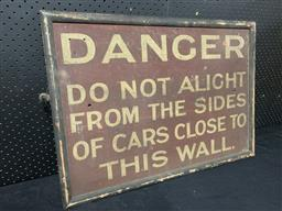 Sale 9188 - Lot 1014 - Vintage hand painted DANGER sign on timber (h:51 x w:71cm)