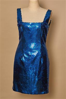 Sale 9093F - Lot 50 - A Cue Design 1980's Electric Blue Sequin Dress fully lined Size 10 Very Good Vintage condition only a few sequins missing note very...