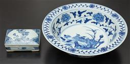 Sale 9108H - Lot 8 - A Chinese rectangular lidded pin dish Height 4cm x Width 11cm x Depth 9cm together with a blue and white deep bowl Diameter 27cm (ri...
