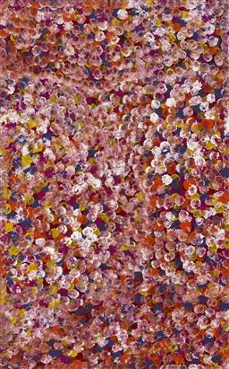 Sale 9161 - Lot 581 - POLLY NGALE (c1936 - ) Bush Plum acrylic on canvas 153 x 95 cm (stretched and ready to hang) signed verso; certificate of authentici...