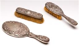 Sale 9136 - Lot 240 - A silver dressing set incl brushes and mirror