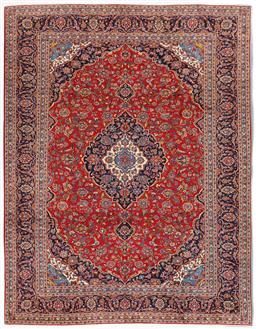 Sale 9181C - Lot 39 - A fine traditional red and navy tone Shah Abbas Persian Kork wool rug 405 x 300cm