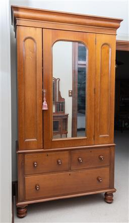 Sale 9260M - Lot 63 - A Victorian cedar single door wardrobe with 2 internal shelves over two short and one long drawer, H 235cm W 135cm D 55cm
