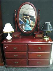 Sale 7974A - Lot 1012 - Timber Mirrored Back Dresser w Six Drawers