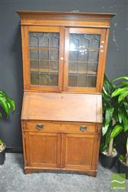 Sale 8272 - Lot 1013 - Timber Drop Front Bookcase with Leadlight Doors