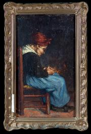Sale 8379A - Lot 100 - Artist Unknown - 19th century European school - Figurative study of a seated lady in traditional costume 25 x 15cm