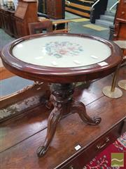 Sale 8416 - Lot 1005 - Victorian Rosewood Piano Base Converted to Side Table, with floral tapestry top & carved pedestal