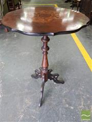 Sale 8485 - Lot 1087 - Victorian Rosewood & Marquetry Tilt Top Wine Table, on turned pedestal with pierced outswept legs