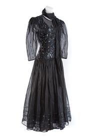Sale 8493A - Lot 77 - A black Ferees evening dress, with taffeta, beading and underskirt, size 10