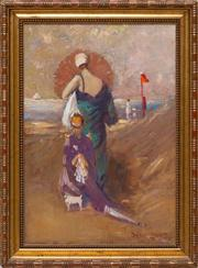 Sale 8677B - Lot 520 - Daryl Isles, Deco muses on the beach, oil on board, signed lower right, H x 65, W x 28cm