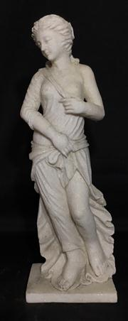 Sale 8706A - Lot 18 - A carved marble Venus statue looking right, H 22 x H 66cm