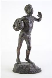Sale 8835 - Lot 254 - Cast Iron Figure of a Boy with Urn, H30cm
