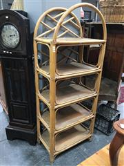 Sale 8854 - Lot 1039 - Cane Wall Unit with Rattan Shelving