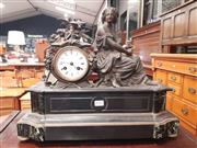 Sale 8868 - Lot 1059 - 19th Century French Black Slate & Marble Mantle Clock, with a spelter figure of a young woman allegorical of love and summer, signed...
