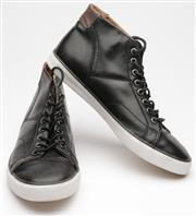Sale 9080F - Lot 4 - A PAIR OF COACH MENS LEATHER HIGH TOP SNEAKERS; black with grey accent to rear ankle tab, size EUR44.