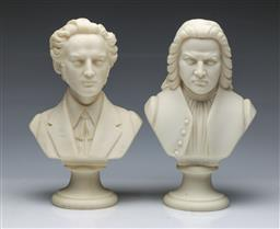 Sale 9098 - Lot 3 - Pair of Busts of Bach and Chopin (H:24.5cm)