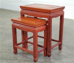 Sale 9174 - Lot 1134 - Chinese Nest of Two Timber Tables (H: 46 x 37 x 24cm)