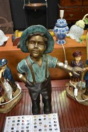 Sale 8039 - Lot 1099 - Bronze Garden Boy with Hat & Outstretched Arm