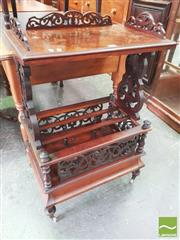 Sale 8428 - Lot 1098 - Victorian Burr Walnut Canterbury What Not, with pierced gallery & supports & drawer below