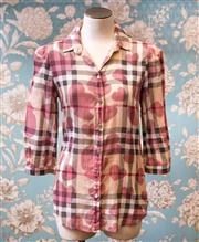 Sale 8474A - Lot 29 - A fun Burberry 3/4 sleeve shirt, with chequered heart pattern, in very good condition, size S