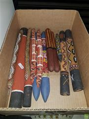 Sale 8563T - Lot 2441 - 7 Aboriginal Tapping Sticks incl One Labelled Poppy Lynn, NT