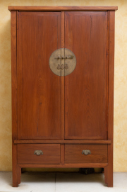 Sale 8677B - Lot 521 - A Chinese two door, two drawer tapered wedding cabinet,  (splitting)  H x 189, W x 110cm, D x 51cm