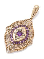 Sale 9083 - Lot 345 - A 14CT GOLD VICTORIAN STYLE AMETHYST AND PEARL PENDANT; navette shape pendant centring a carre cut amethyst encircled by seed pearls...