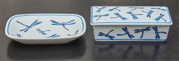 Sale 9108H - Lot 10 - A porcelain blue and white dragonfly decorated lidded trinket dish Length 11.5cm together with a matching pin dish.