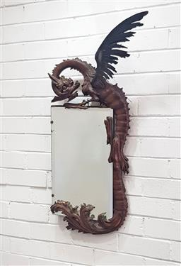 Sale 9126 - Lot 1119 - Early 20th Century Carved Dragon Mirror in the manner of Gabriel Viardot, the dragon carved hugging the rectangular mirror glass, sn...