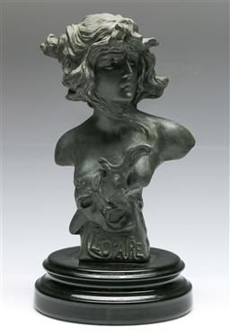 Sale 9138 - Lot 51 - Cast Metal Bust Marked Cleopatra Mounted on Timber Base (H:34cm)