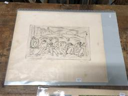 Sale 9172 - Lot 2075 - Miklos Borsos (1906 - 1990) Firenzi - Figures seated by a Riverbank with Bridge etching ed. 5/100 (unframed) 40 x 50cm, signed -