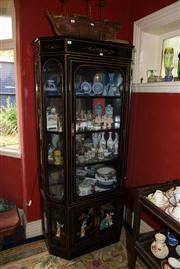 Sale 7962B - Lot 89 - Chinoiserie style black and gold lacquer display cabinet with painted scenes