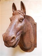 Sale 8256A - Lot 47 - A vintage French cast iron wall mounted horse head. Old surface rust.  Size: 38 x 19 x 25 cm deep