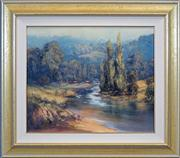 Sale 8411A - Lot 5001 - Pat Murphy (active 1980s) - Moody Day Along the Adelong River 50 x 60cm