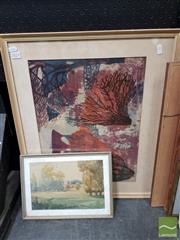 Sale 8491 - Lot 2023 - 2 Original Monotypes by Unknown Artists, framed, various sizes