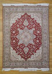 Sale 8559C - Lot 39 - Super Fine Persian Tabriz Silk Inlay 207cm x 153cm