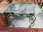 Sale 8657 - Lot 1098 - Metal Glass Top Occasional Table
