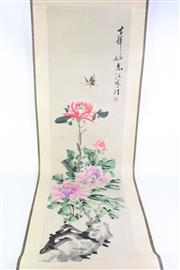 Sale 8835 - Lot 270 - Chinese Ink Scroll Painting of Peonies and Butterfly with Calligraphy and Red Seal, L132xm, W33cm (Image Only)