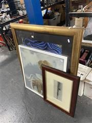 Sale 8910 - Lot 2099 - Group of (3) Prints incl: Surrealist, South East Asian, and a hand-coloured Engraving of Grafton
